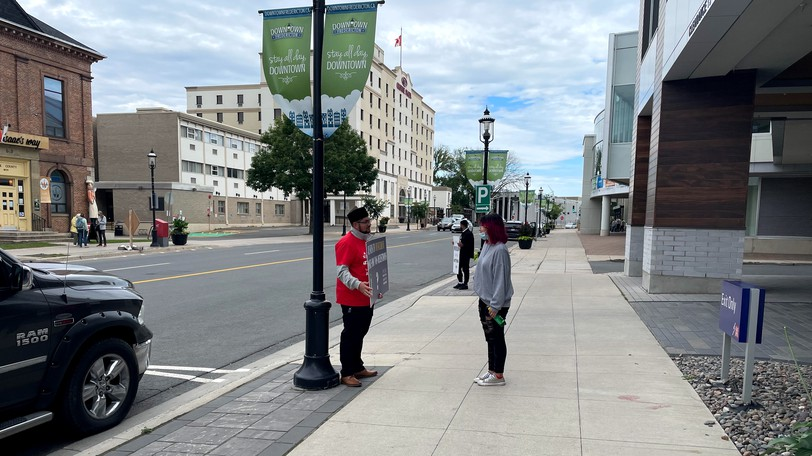 Montreal Imam Nabil Mirza, seen here on Queen Street, was in Fredericton Sunday as part of a national information campaign to fight Islamophobia.