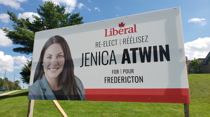 A large sign similar to this one was recently relocated by Atwin's campaign team in Oromocto because several people had complained it was too near a monument to soldiers who fought in the Afghanistan war.