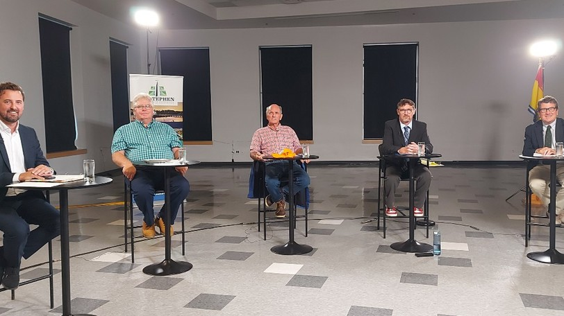 New Brunswick Southwest candidates at a Meet the Candidates event on Sept. 2. From left: Liberal candidate Jason Hickey, Green candidate John Reist, People's Party of Canada candidate Meryl Sarty, NDP candidate Richard Warren and incumbent Conservative candidate John Williamson.