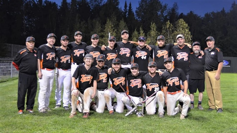 The Taymouth Tigers pose for a team photo after completing a three-game sweep of the Hoyt Schooners in the best-of-five Greater Fredericton's Men's Fastpitch League final Wednesday at Prospect Street Park.