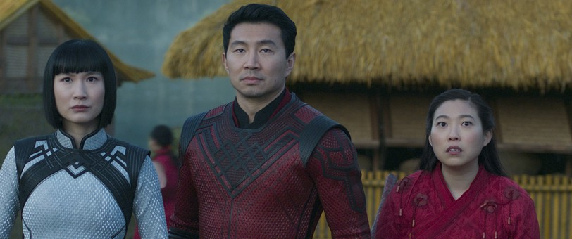 Meng'er Zhang, Simu Liu and Awkwafina, from left, in a scene from Shang-Chi and the Legend of the Ten Rings.