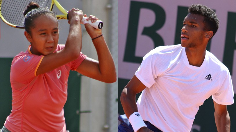 Felix Auger-Aliassime, right, joined fellow Montrealer Leylah Fernandez in the semifinals of the U.S. Open, giving Canada two players among the final eight in singles play.