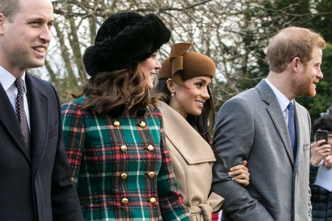 Prince William, Duke of Cambridge, Catherine, Duchess of Cambridge, Prince Harry, Duke of Sussex and Meghan, Duchess of Sussex are seen on Christmas Day in 2017.