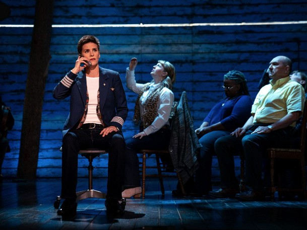 Jenn Colella plays American Airlines Captain Beverley Bass in Come From Away.