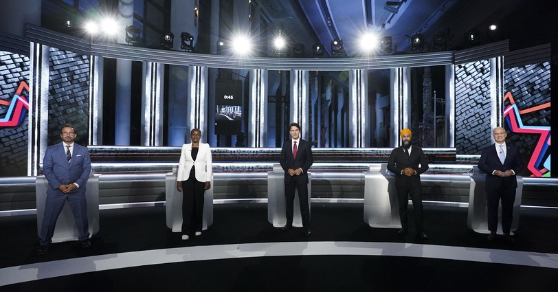 Bloc Quebecois Leader Yves-Francois Blanchet, Green Party Leader Annamie Paul, Liberal Leader Justin Trudeau, NDP Leader Jagmeet Singh, and Conservative Leader Erin O'Toole pose for an official photo before the federal election English-language Leaders debate in Gatineau, Que. on Thursday.