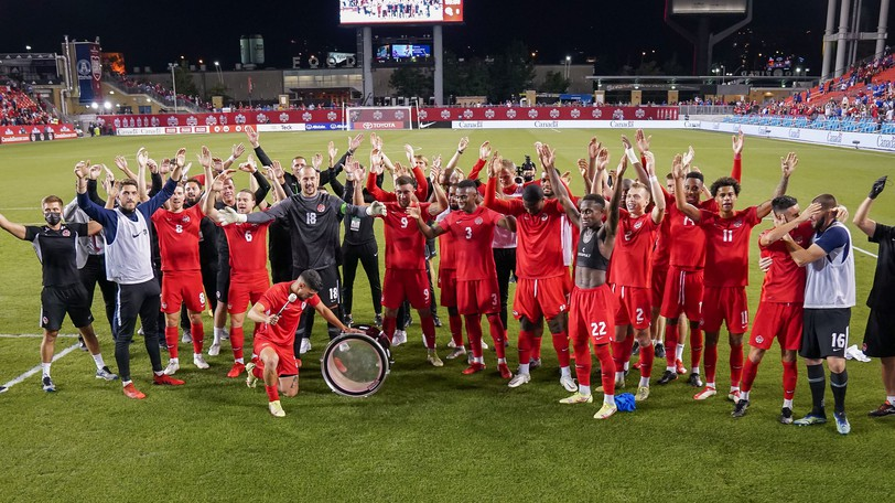"""The Canadian men's national soccer team celebrates with home fans at BMO Field in Toronto after its Sept. 8 win over El Salvador in FIFA World Cup Qualifying. With five points of an available nine from the three games, head coach John Herdman is """"content"""" – though he hoped for seven."""