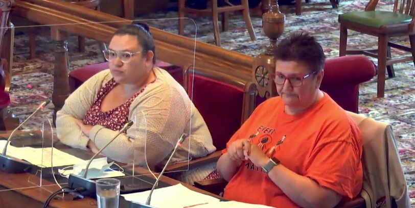 Marcy Cloud of Metepenagiag Mi'kmaq Nation, left, and Fort Folly First Nation chief Rebecca Knockwood speak at a legislative committee on Friday.