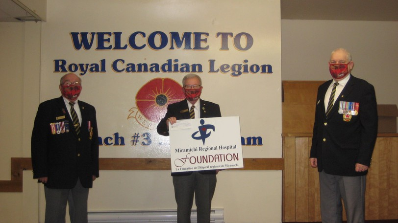 Royal Canadian Legion Branch 3 in Chatham recently donated $5,000 to the Miramichi Regional Hospital Foundation from the Poppy Trust Fund to purchase new equipment. On hand for the presentation were (from left): Branch 3 president Ted Quann, treasurer René Smith, and second vice-president and poppy chair Gerald Mullins.