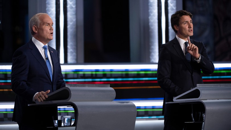 Conservative Leader Erin O'Toole and Liberal Leader Justin Trudeau pictured during one of two debates held earlier this week.