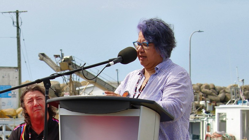 RoseAnne Archibald, national chief of the Assembly of First Nations, is shown speaking in southeast Nova Scotia on Thursday.