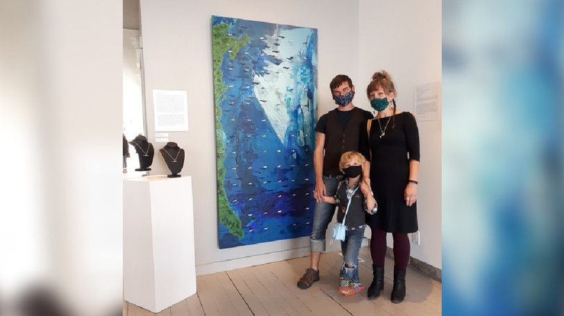 Artist Erica Stanley, pictured here with her family, is participating in the the Shorelines exhibition taking place at theSunbury Shores Art and Nature Centre in St. Andrews until Oct. 2. Her work focuses on the plight of the endangered North Atlantic right whale.