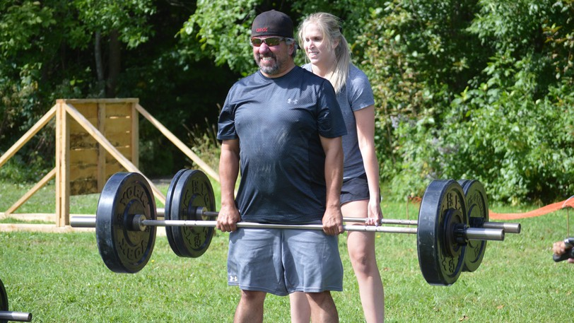 Dave Francis and Rachel Blouin-Brochu tackle the dead lift station during the Battle of the Badges fitness challenge held in Perth-Andover on Saturday, Sept. 11. They were members of the RCMP team.