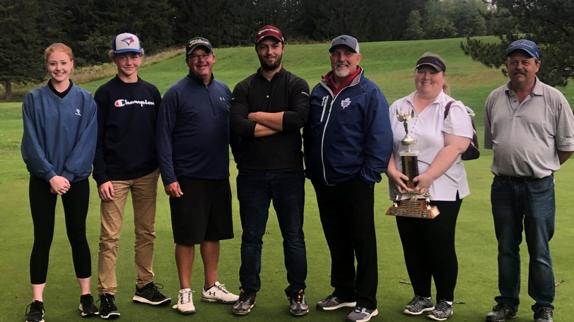 The Plaster Rock Golf Club held its club championship on Sept. 11 and 12. From left are youth champs Lauren Legace and Logan Legace; men's champ Scott Sprague; club champion Andy Clowes; super senior champ Jeff Hollins; women's champ Julie Chase and senior men's champ Jeff Jenkins.