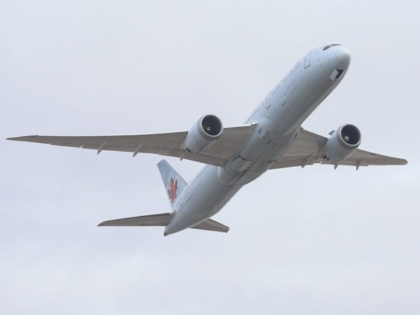 An Air Canada 787 passenger plane takes off at Pearson International Airport on Jan. 24, 2021.