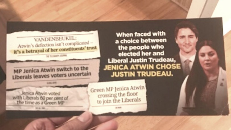 Fredericton Green candidate Nicole O'Byrne tweeted this photo of a Conservative Party flyer recently mailed out in the capital region.
