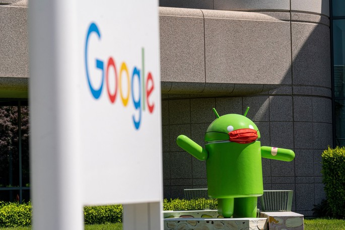 An Android statue wearing a mask on the Google campus in Mountain View, Calif., on April 21, 2021.