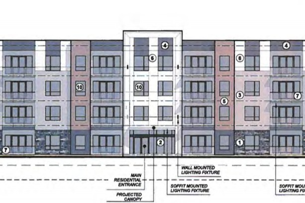 An artist's rendering of a new four-storey, 48-unit apartment building planned for Rothesay. Town council approved a rezoning application for the project Monday night.