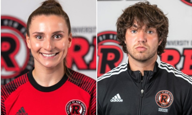 Soccer keepers Brynn Nash, left, and Louis-Charles Vaillancourt were chosen UNB Reds/Papa John's athletes of the week.
