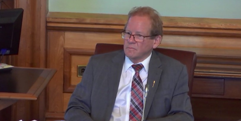 Chuck Chiasson, the MLA for Victoria-la-Vallée, chairs the Legislature's Standing Committee on Public Accounts on Tuesday.