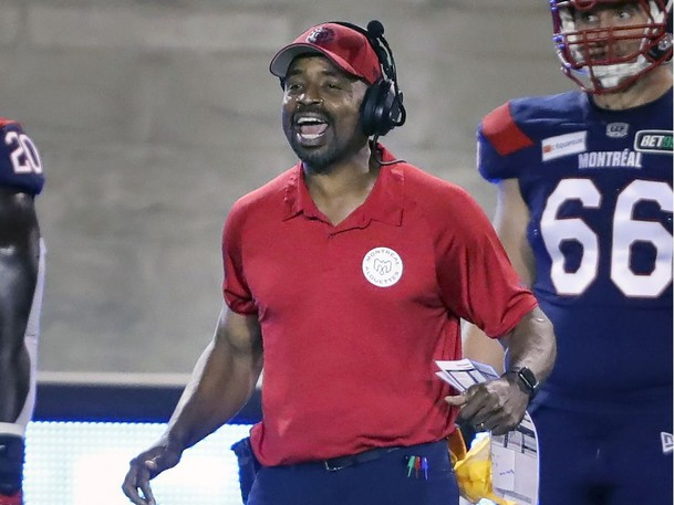 Montreal Alouettes head coach Khari Jones on the sideline during his team's Canadian Football League against the Hamilton Tiger-Cats game in Montreal on Aug. 27.