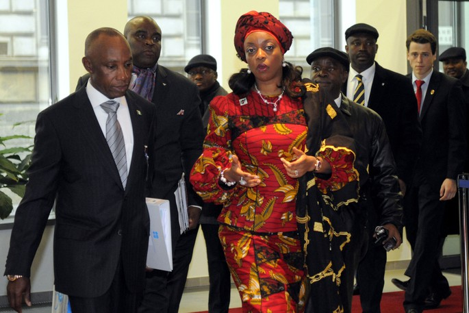 Diezani Alison-Madueke, centre, arrives for the start of an OPEC meeting in Vienna in 2011.