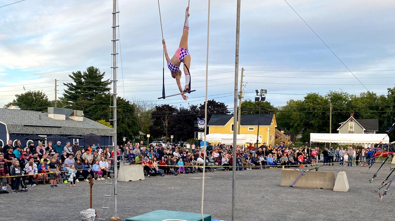 A crowd watches one of the shows during the 2021 New Brunswick Exhibition in Fredericton. Organizers estimate 60,000 people came through the fair gates for free.