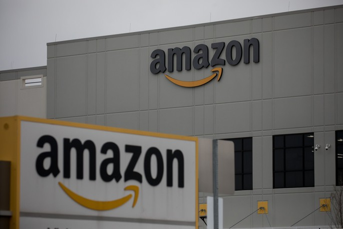 Amazon.com signage is displayed in front of a warehouse in the Staten Island borough of New York on March 31, 2020.