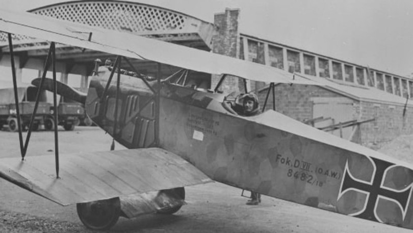 Albert Desbrisay Carter about to take off on his last ever flight in a captured German plane. An hour later he would be dead.