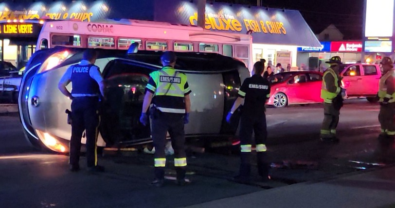 The Dieppe Fire Department and the Codiac Regional RCMP responded to a three-vehicle collision involving two cars and a transit bus on Paul Street in Dieppe on Tuesday night. One car had flipped on its side during the crash, said Julien Boudreau, district chief of the Dieppe Fire Department.