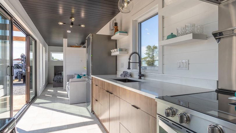 Elevation Enterprises in Beresford is jumping on the tiny home bandwagon by making tiny homes out of shipping containers. This is the inside of one of them, showing the efficient use of space.