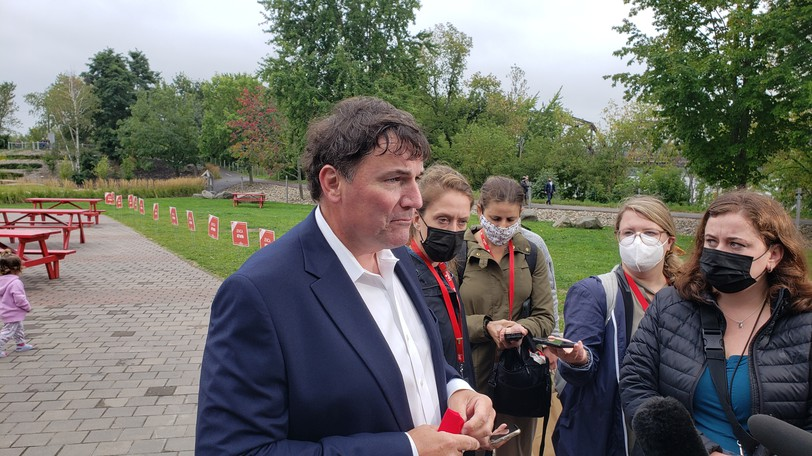 Beauséjour Liberal candidate Dominic LeBlanc speaks to reporters in Fredericton on Wednesday.