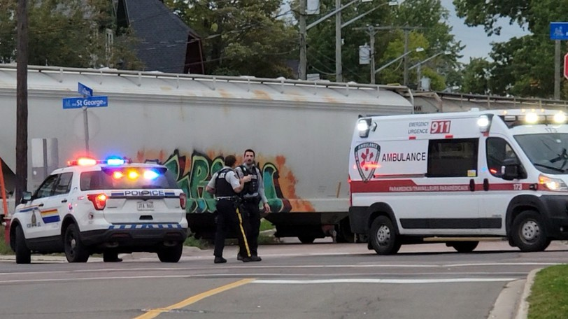 The Moncton Fire Department, Ambulance New Brunswick and the Codiac Regional RCMP were called to St. George and Church streets Wednesday night after a woman was struck by a train.