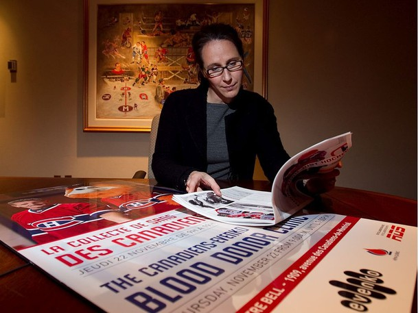 Genevieve Paquette with promotional poster and fliers on the next Montreal Canadiens blood drive at the Habs corporate offices on Thursday November 15, 2012.