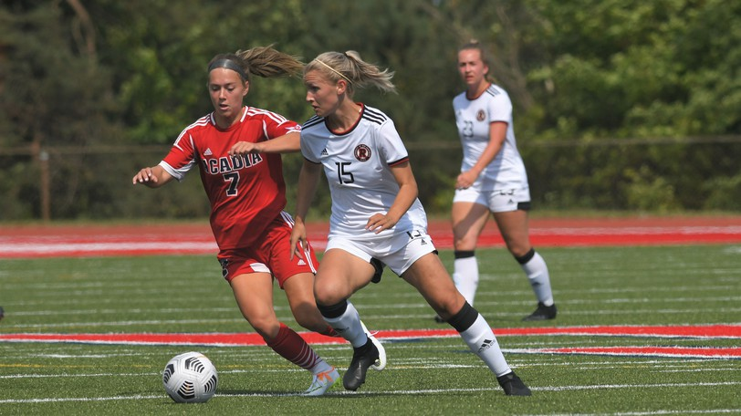 UNB midfielder Jesse Bellamy moves the ball during Sunday's 1-0 win at Acadia. The Reds host Cape Breton on Saturday and St. Francis Xavier on Sunday, both 1 p.m. kickoffs at Scotiabank Park North.