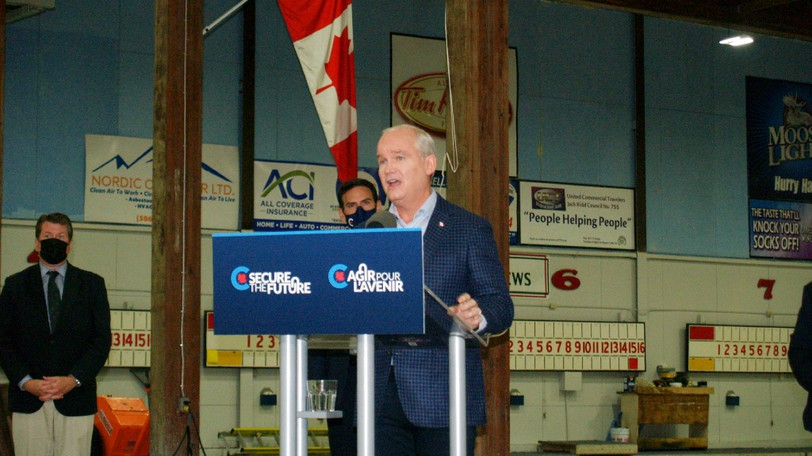 Federal Conservative Leader Erin O'Toole made a campaign stop in the north end of Saint John on Thursday.