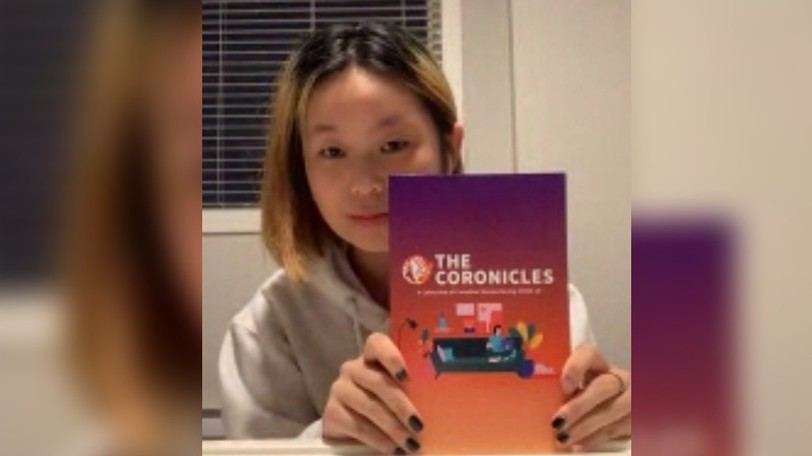 Jiayu Li, 16, shown in a video call on Sept. 13, 2021, led the production of The Coronicles, a collection of COVID-related artwork and literature published earlier this year.