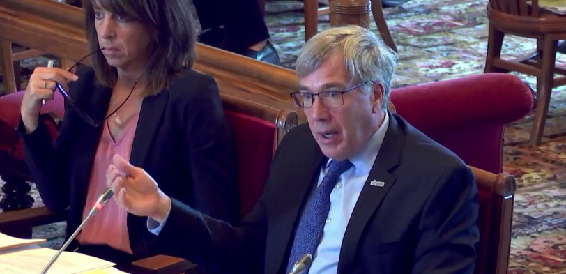 Alan Roy, the CEO of Service New Brunswick, speaks at the Legislature's public accounts committee on Thursday.