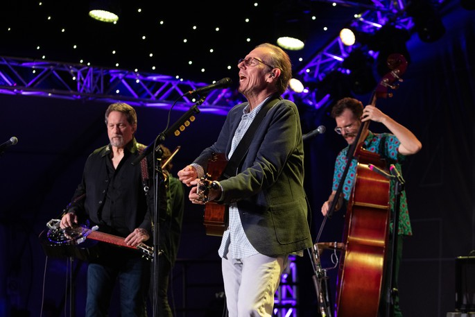John Hiatt and the Jerry Douglas Band performed in the Blues Tent at the Harvest Music Festival on Thursday night.