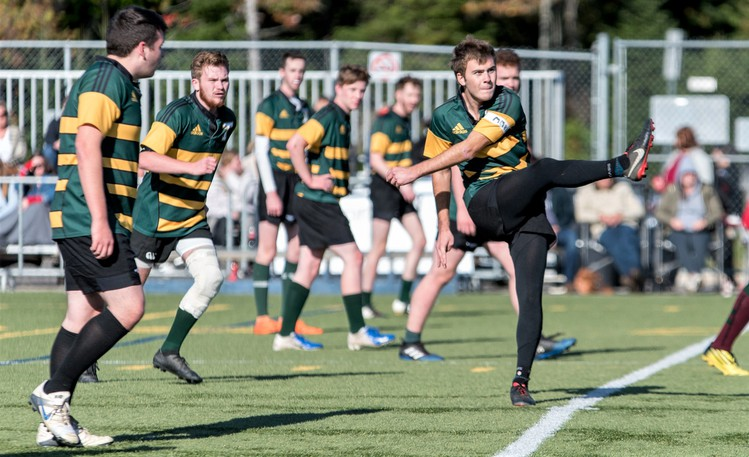 Saint John's Oliver Larson, kicking the ball, is a key player for the STU Tommies men's rugby team. The Tommies meet the UNB Ironmen at 4 p.m. Sunday at Scotiabank Park South turf field.