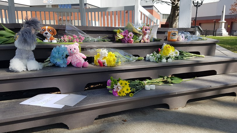 A make-shift memorial in Campbellton to two people, one of them a small girl, who were killed in Listuguj First Nation on May 15. Brandon Metallic, 28, charged with two counts of second-degree murder in the matter, was found unfit to stand trial and has been ordered to undergo psychiatric treatment.
