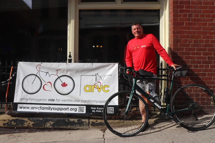 Adam Hoerdt is riding across the country to raise awareness of a rare disease. He made one of his New Brunswick stops at Saint John's Big Tide Brewing Company.