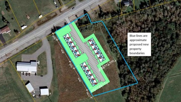 The proposed site plan for three 10-unit apartment buildings off Centreville Road in Florenceville-Bristol. The rezoning request will be the subject of a Oct. 19 public hearing in the community.