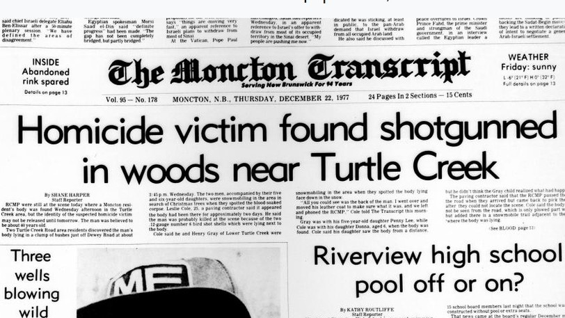 The Dec. 22, 1977 Moncton Transcript featuring an article about George Swanson's murder.
