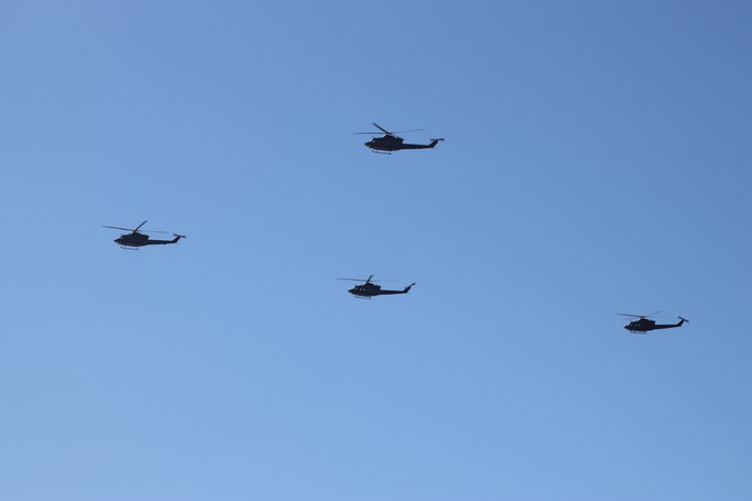 Four Royal Canadian Air Force helicopters flew over Saint John at about 11 a.m on Sunday.