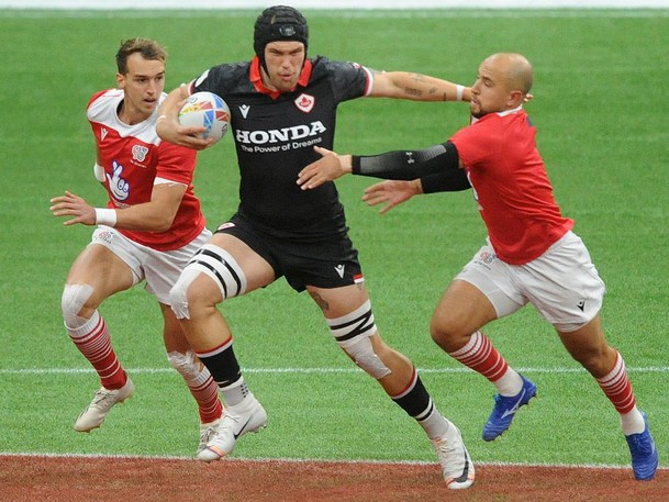 Action scenes from the Canada vs Great Britain match from day two of games during the 2021 Canada Sevens at BC Place Stadium, in Vancouver, BC., on September 19, 2021.