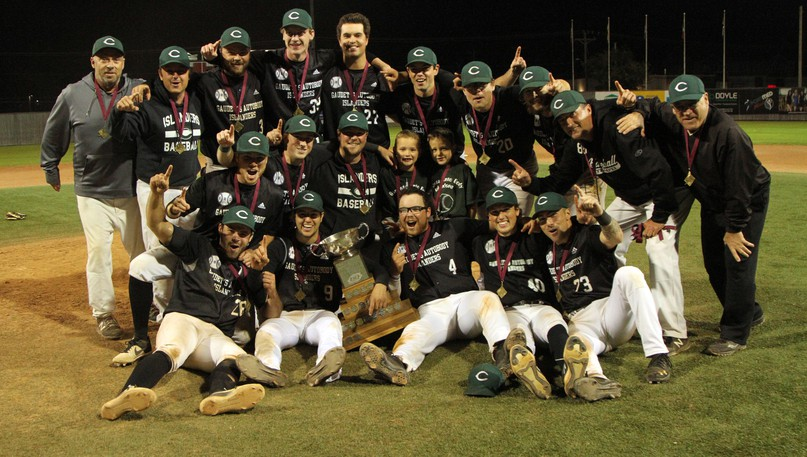 The Charlottetown Islanders celebrate winning the New Brunswick Senior Baseball League championship on Sunday at Kiwanis Park. The Islanders ousted the Moncton Fisher Cats in five games in the final.