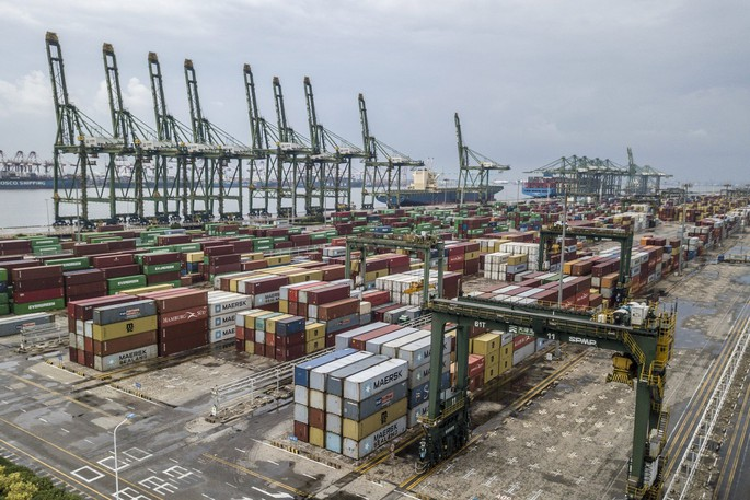 Shipping containers on the dockside at Tianjin Port in Tianjin, China, 2021.