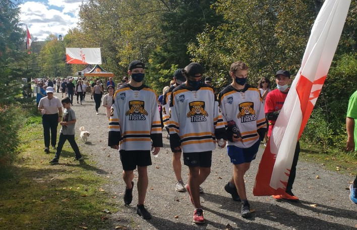 Some players from the Campbellton Junior A Tigers were on hand for the Terry Fox Walk Sunday, despite their having arrived home late the night before from a game in Edmundston.
