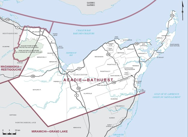 Voters headed to the polls in the Chaleur region Monday to elect a new MP in Acadie-Bathurst. Pictured is the riding map for Acadie-Bathurst.