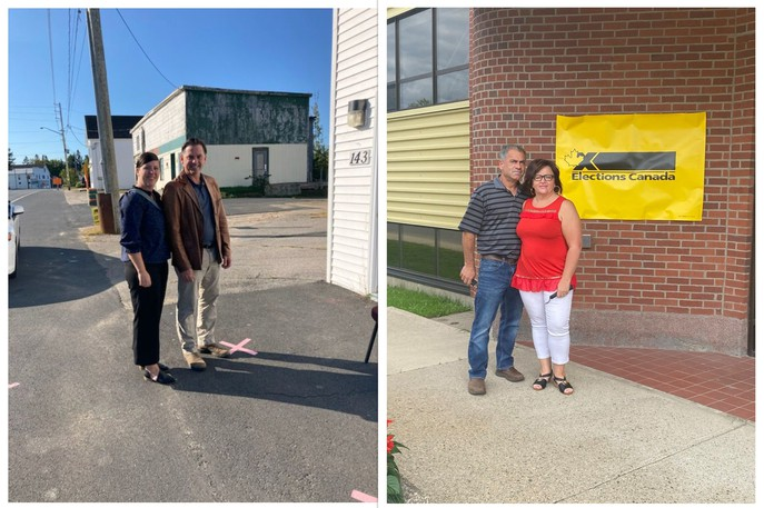 From left: Shannon Stewart and her husband, federal Miramichi-Grand Lake Conservative candidate Jake Stewart, cast their ballots Monday in Blackville. Eugene Harris and his wife, Liberal candidate Lisa Harris, voted earlier in the campaign at Elections Canada's Miramichi returning office.